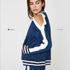 Zip up shoulder cut out track jacket